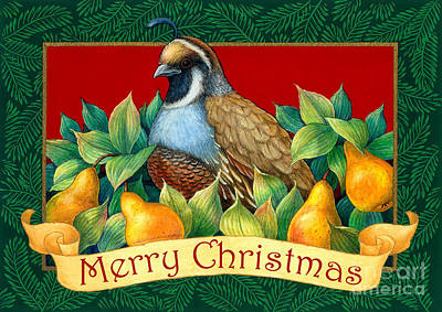 Merry Christmas Partridge Print by Randy Wollenmann