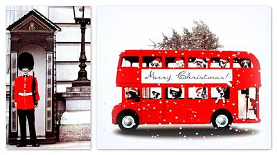 Merry Christmas Routemaster And London Guard Print by The Creative Minds Art and Photography
