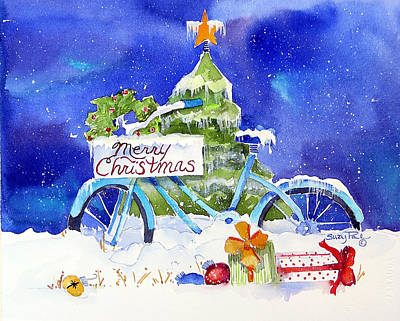Bicycle Painting - Merry Christmas by Suzy Pal Powell