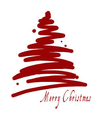 Merry Christmas Tree - Red Print by Patricia Awapara