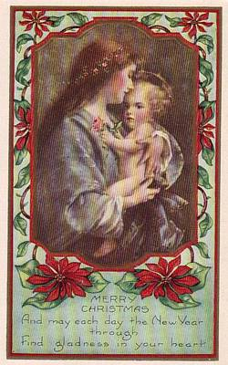 Merry Christmas Virgin And Child Print by Olde Time  Mercantile