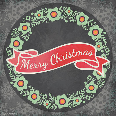Wreath Painting - Merry Christmas Wreath II by Jennifer L. Wambach