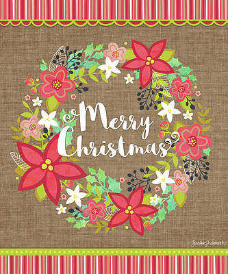 Wreath Painting - Merry Christmas Wreath by Jennifer L. Wambach