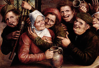 Man And Woman Painting - Merry Company by Jan Massys or Metsys