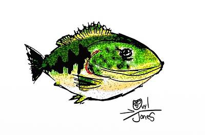 Large Mouth Bass Digital Art - Merry Fishmas by Owl Jones