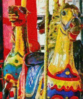 Amusements Mixed Media - Merry Go Round Horses by Dan Sproul