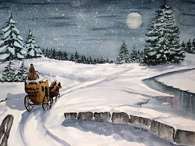Winterscape Painting - Merry Ride by Julia Rietz
