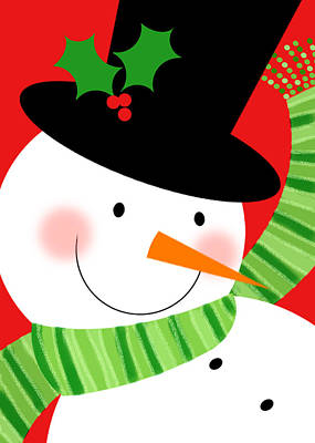 Christmas Greeting Mixed Media - Merry Snowman by Valerie Drake Lesiak