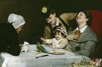 Parakeet Painting - Merrymakers by Charles Emile Auguste Carolus-Duran