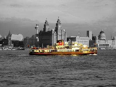Scouse Photograph - Mersey Ferry And Liverpool Waterfront Spot Colour by Steve Kearns