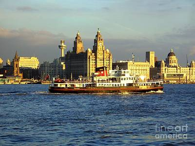 Mersey Ferry And Liverpool Waterfront Print by Steve Kearns