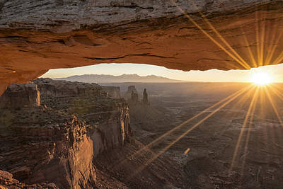 Land Photograph - Mesa Arch Sunrise 4 - Canyonlands National Park - Moab Utah by Brian Harig