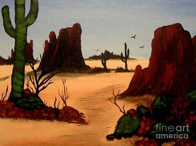 Mesas Buttes And Cactus Print by Barbara Griffin