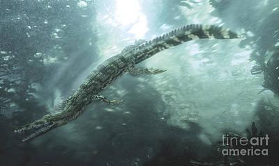 Mesosaurus Hunting For Food Underwater Print by Jan Sovak
