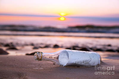 Information Photograph - Message In The Bottle At Sunset by Michal Bednarek