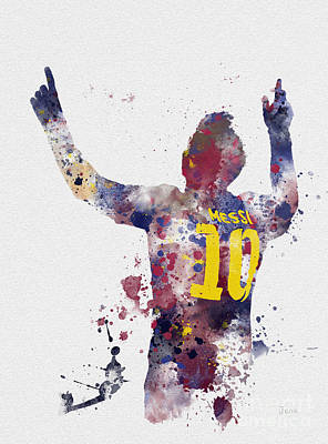 Barcelona Mixed Media - Messi by Rebecca Jenkins