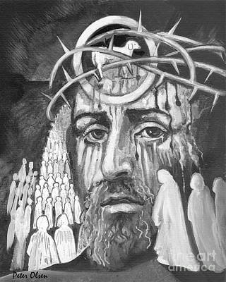 Revelation Drawing - Messiah by Peter Olsen
