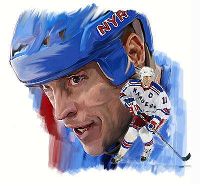 Hockey Drawing - Messier II Mark Messier by Iconic Images Art Gallery David Pucciarelli