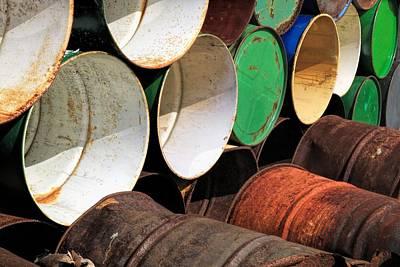 Rusted Barrels Photograph - Metal Barrels 1 by Rudy Umans