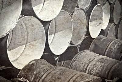 Metal Barrels 1bw Print by Rudy Umans