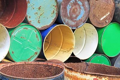 Rusted Barrels Photograph - Metal Barrels 2 by Rudy Umans
