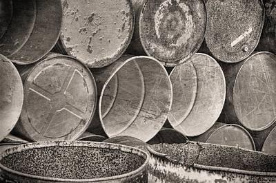 Rusted Barrels Photograph - Metal Barrels 2bw by Rudy Umans