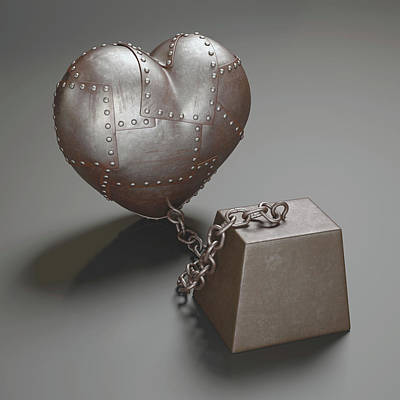 Metal Heart And Weight Print by Ktsdesign