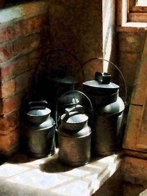 Old Milk Jugs Photograph - Metal Jugs By Window by Susan Savad