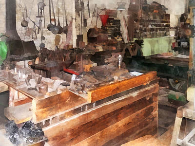 Benches Photograph - Metal Machine Shop by Susan Savad