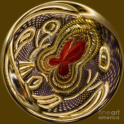 Round Beads Photograph - Metal Trimmed Orb by Anne Gilbert