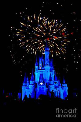 Blue Fireworks Photograph - Metallic Castle by Ryan Crane