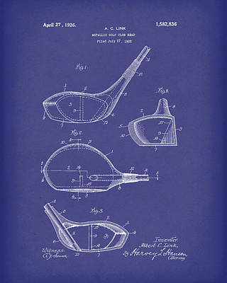 Golf Drawing - Metallic Golf Club Head 1926 Patent Art Blue by Prior Art Design
