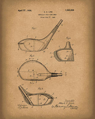 Golf Drawing - Metallic Golf Club Head 1926 Patent Art Brown by Prior Art Design