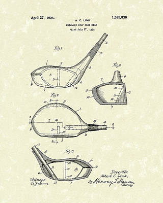 Balls Drawing - Metallic Golf Club Head 1926 Patent Art by Prior Art Design