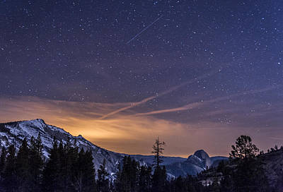 Night Skies Over Half Dome Print by Cat Connor