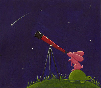 Rabbit Drawing - Meteor Shower by Christy Beckwith
