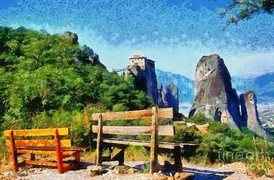 Abbey Painting - Meteora by George Atsametakis