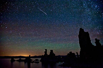 Meteors Over Mono Lake Print by Cat Connor