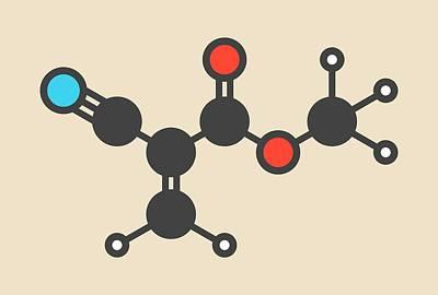 Methyl Cyanoacrylate Molecule Print by Molekuul