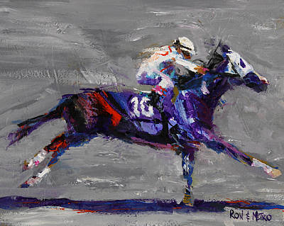 Racehorse Painting - Metro Wins by Ron and Metro