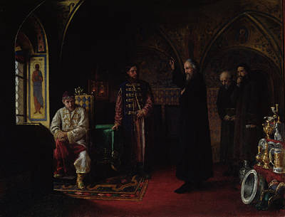 Metropolitan Philip Of Moscow 1507-90 With Tsar Ivan The Terrible 1530-84 Oil On Canvas Print by Jakov Prokopyevich Turlygin