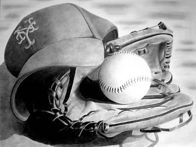Mlb Drawing - Mets by Jennifer Wartsky