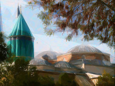 Turkey Mixed Media - Mevlana Rumi Mosque In Konya Turkey by Celestial Images