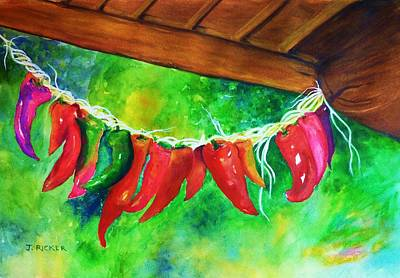 Poncho Painting - Mexican Jalapeno Peppers by Jane Ricker