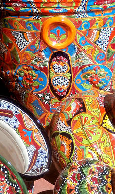 Hand Painted Glasses Photograph - Mexican Painted Pottery by Karyn Robinson