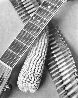 Mexican Revolution, Guitar, Corn Print by Tina Modotti