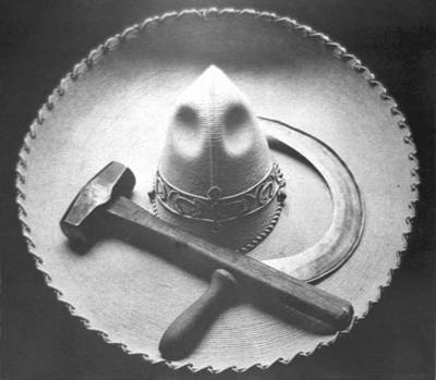 Hammer Photograph - Mexican Revolution Sombrero With Hammer by Tina Modotti