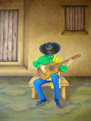 Chitarra Painting - Mexican Serenade by Pamela Allegretto