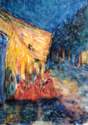 Virgen De Guadalupe Painting - Mexican Village Prayer Gathering by  Tolere