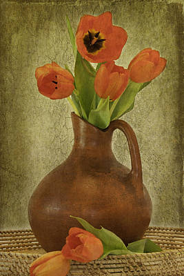 Mexican Water Jug With Poppies Print by Lynne Fried